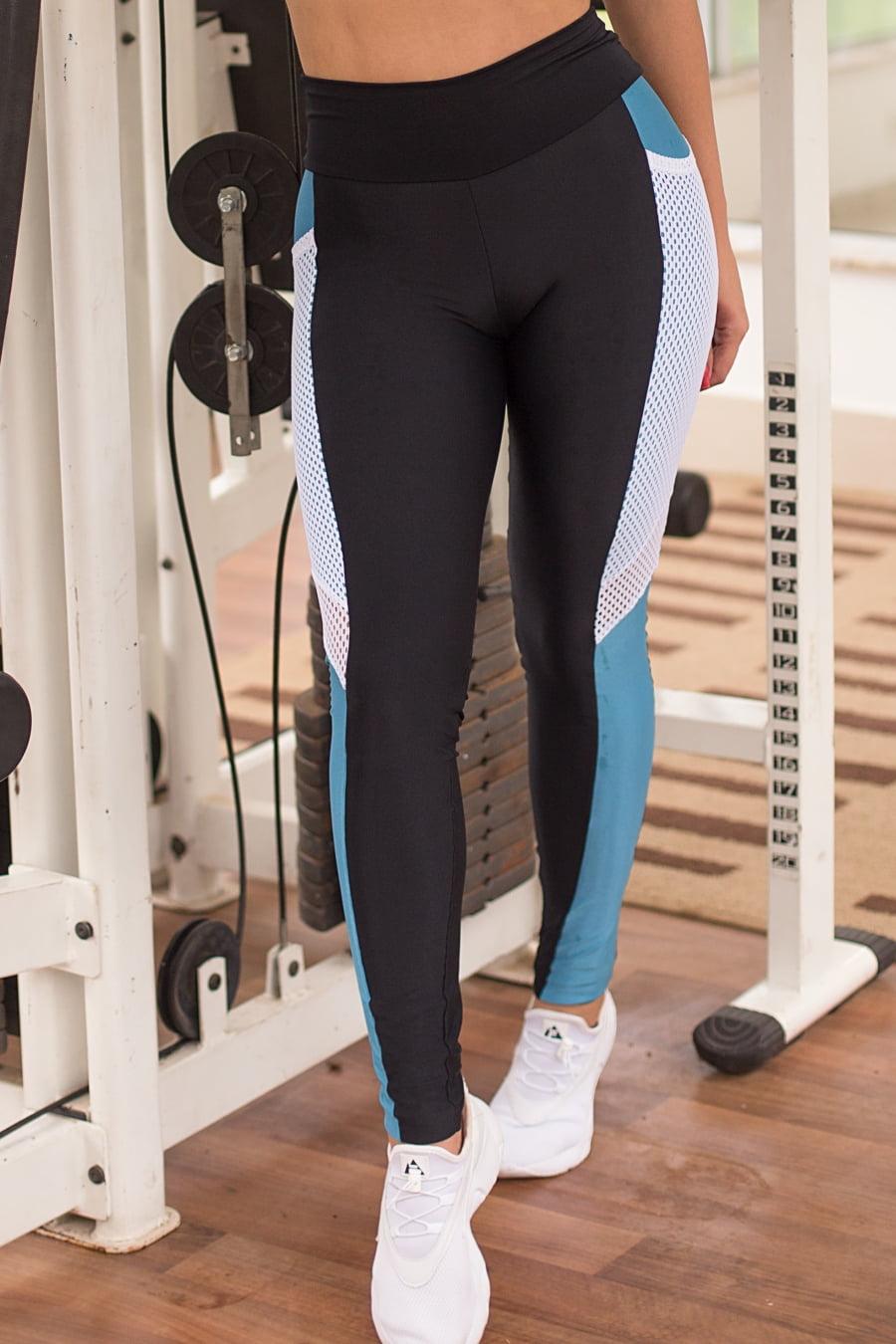 Calça legging fitness fusô preta e azul com tela e bolso