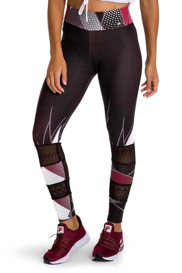 Calça legging fusô com recorte e estampa geométrica