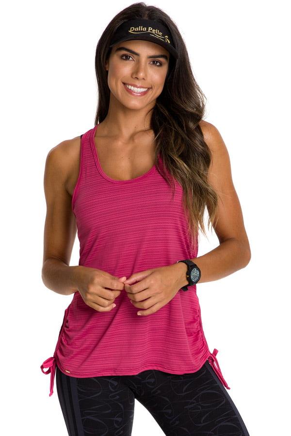 Regata alonguete fitness rosa com tiras laterais