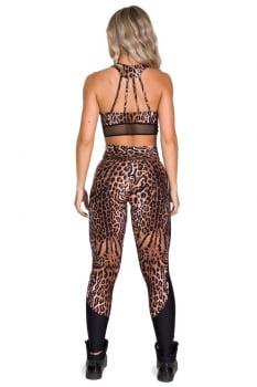 Calça legging animal print com recorte lateral