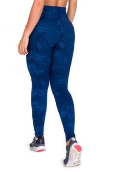 Calça legging fusô azul com recorte e tecido em relevo