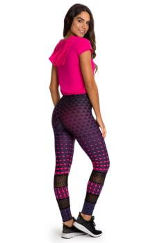 Calça legging fusô roxa com estampa pink