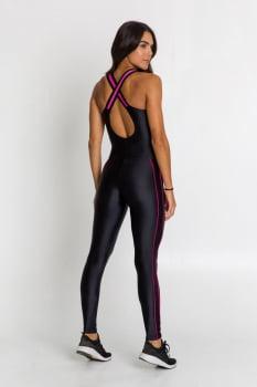 Macacão fitness nadador preto com bojo removível