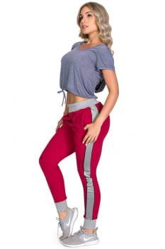 Cropped fitness cinza com capuz