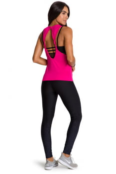 Regata fitness pink com abertura nas costas